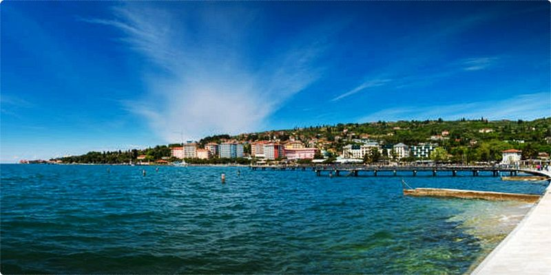 Portorose is a well known Slovenian tourist resort on the Adriatic coast, famous for its sunny position in the bay of Piran