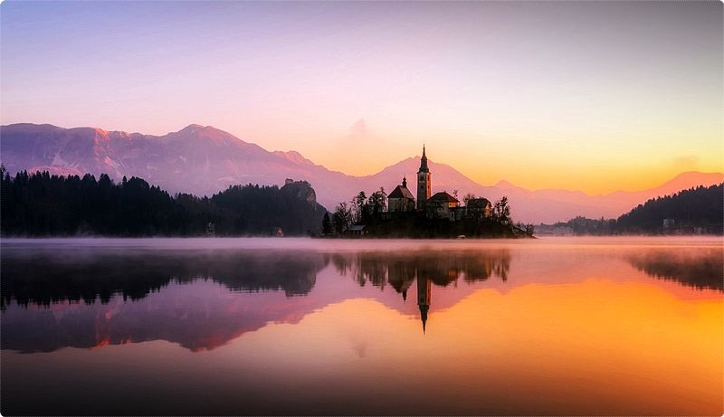 Lake Bled. In summer vacations there are many occasions to travel around, do some mountaineering or alpine climbing, rafting, playing tennis or just relaxing in the quiet woods.
